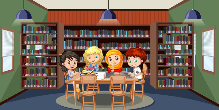 School library interior with children group