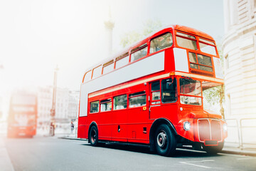 London Red Bus in motion