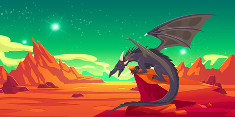 Obraz Fairytale black dragon on cliff in mountains. Vector cartoon fantasy illustration of spooky magic beast with wings and red desert landscape with rocks at night - fototapety do salonu