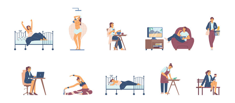 Modern woman daily routine chores and activities, vector illustration isolated.