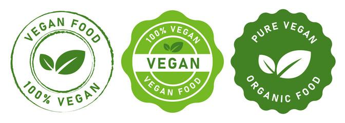 Obraz vegan food stamp label for vegetarian green leaf circle seal sticker vector graphic isolated set - fototapety do salonu