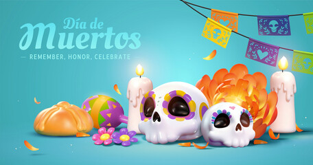 Day of the dead altar theme banner