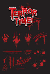 Terror Time text design with bloody hand prints