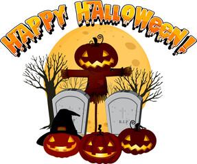 Happy Halloween with Jack-o'-lantern at graveyard
