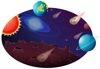 Space background with many planets and comets
