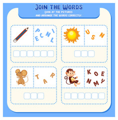 Spelling word game template