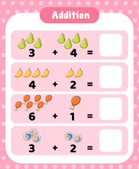 Preschool addition math worksheet template
