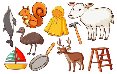 Set of various animals and objects