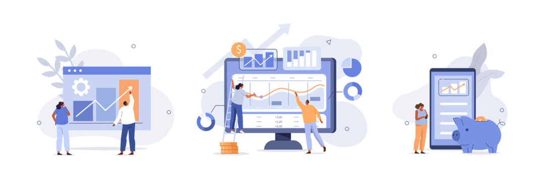 Characters investing money in stock market. People analyzing financial graphs, charts and diagrams and other data. Stock trading concept. Flat cartoon vector illustration and icons set.