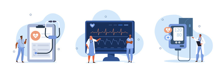 Obraz Heart disease screening and diagnostic concept. Doctor checks blood pressure and examine cardiogram and pulse on EKG monitor. Flat cartoon vector illustration and icons set. - fototapety do salonu