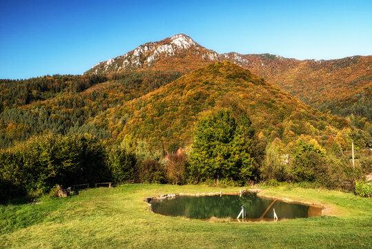 Travertine lake and hill Sip in village Rojkov, Slovakia