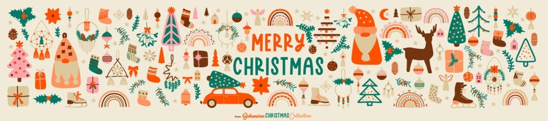 Obraz Big Christmas collection of icons, decorations, symbols, and elements in vintage Boho Christmas style. Great for Elegant Christmas design in Scandinavian or Nordic style. Vector illustration - fototapety do salonu