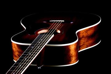 Mahogany Acoustic Guitar Oblique View on Black