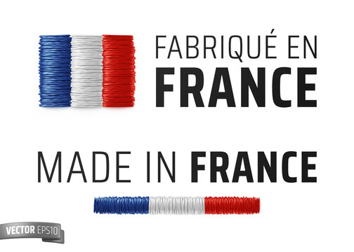 """Vector logos on a white background : """"Fabriqué en France"""", """"Made in France"""""""