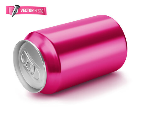 Vector realistic illustration of a pink soda can on a white background.
