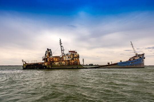 Rusty ships on the sea