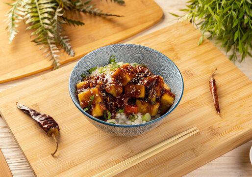 Stir fried tofu with spicy sauce