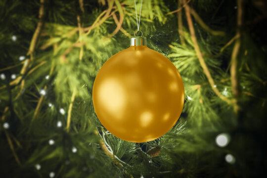 Christmas ball mockup hanging from the Christmas tree