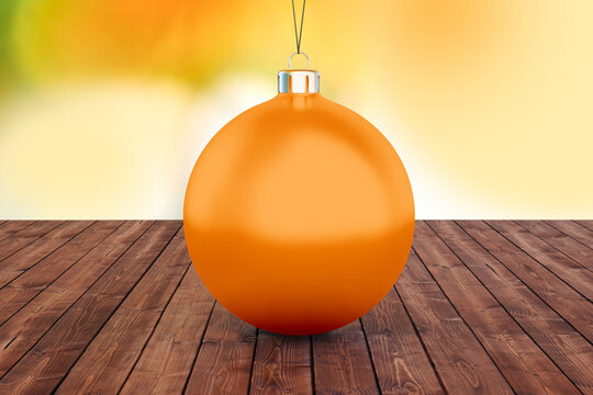 Christmas ball mockup on blurred background