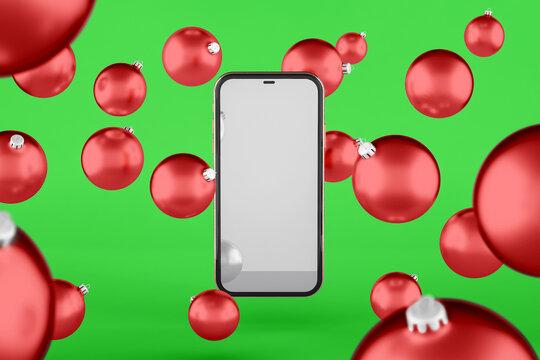Christmas ball and mobile mockup