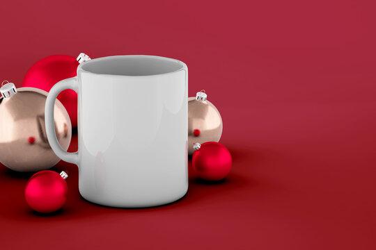 Cup of coffee and Christmas ball mockup