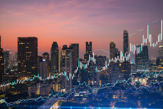 Market behavior graph hologram, sunset panoramic city view of Bangkok, popular location to achieve financial degree in Southeast Asia. The concept of financial data analysis. Double exposure.