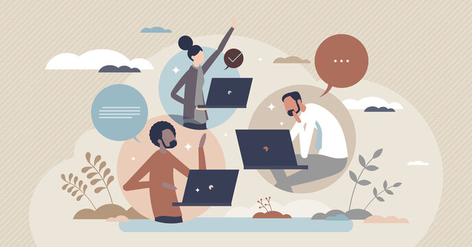 Hybrid team colleagues with distant online video call tiny person concept. Business project meeting using online messaging for distant work vector illustration. Flexible job workspace location choice.