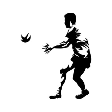 Rugby player throws ball, isolated vector silhouette, ink drawing, team sport ahtlete