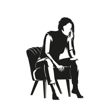 Woman is sitting in a chair, resting her head on her hand, thinking. Isolated vector silhouette, ink drawing