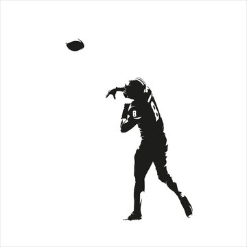 Football player throws ball, isolated vector silhouette, ink drawing, rear view