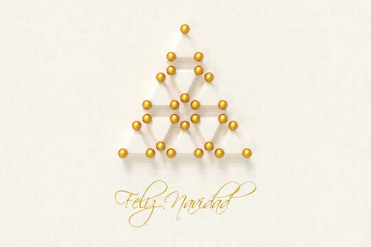 """Christmas tree made from paper triangles and golden baubles. Spanish Message """"Feliz Navidad"""" (Merry Christmas) below."""
