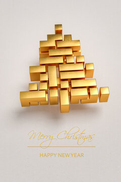 """Christmas tree made from golden tetris style blocks on a paper background. Message """"Merry Christmas / Happy New Year"""" on the bottom."""