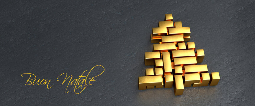 """Christmas tree made from golden tetris style blocks. Italian Message """"Buon Natale"""" (Merry Christmas) to the left. Web banner format. Copy space."""