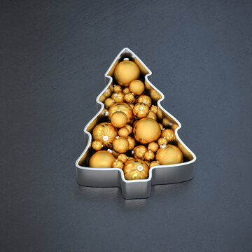 A christmas tree form filled with differently sized and patterned christmas baubles on a dark stone background.