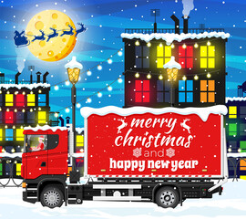 Obraz Christmas Delivery Truck in Town. Delivery Man in Santa Claus Hat. Happy New Year Decoration. Merry Christmas Holiday. City Covered Snow. New Year and Xmas Celebration. Flat Vector Illustration - fototapety do salonu