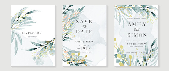 Obraz Luxury wedding invitation card background  with golden line art flower and botanical leaves, Organic shapes, Watercolor. Abstract art background vector design for wedding and vip cover template. - fototapety do salonu