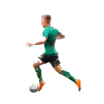 PrintFootball player in green jersey running with ball, side view, isolated low polygonal vector illustration. Soccer