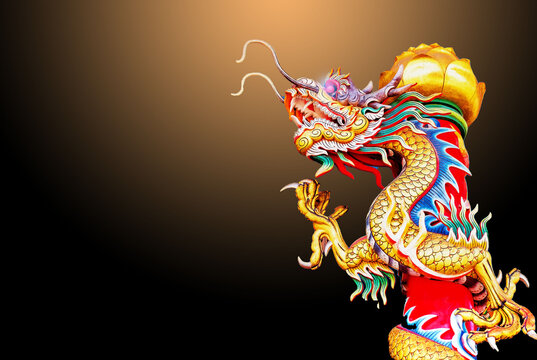 Golden Dragon Chinese natural backdrop of a motion blur.