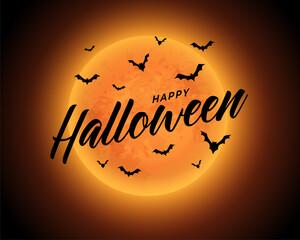 Obraz orange moon happy halloween background with flying bats - fototapety do salonu