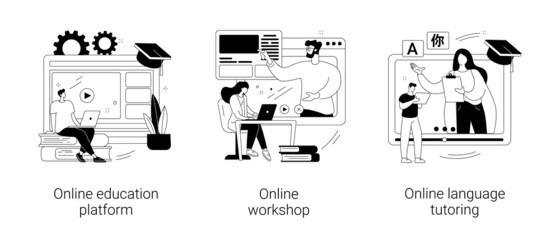 Distance web learning abstract concept vector illustrations.