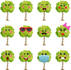 Obraz Green tree with feature a different expressions - fototapety do salonu