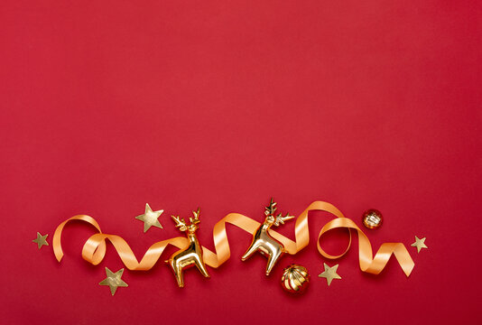 Christmas concept with golden deers festive decorations
