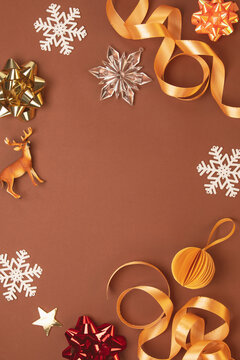 Christmas greeting card background or template with traditional festive decor