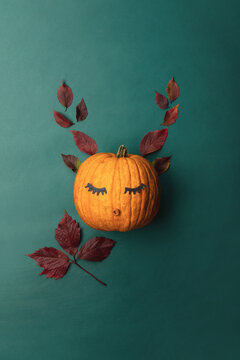 Cute autumn concept, pumpkin face with deer horns made of leaves