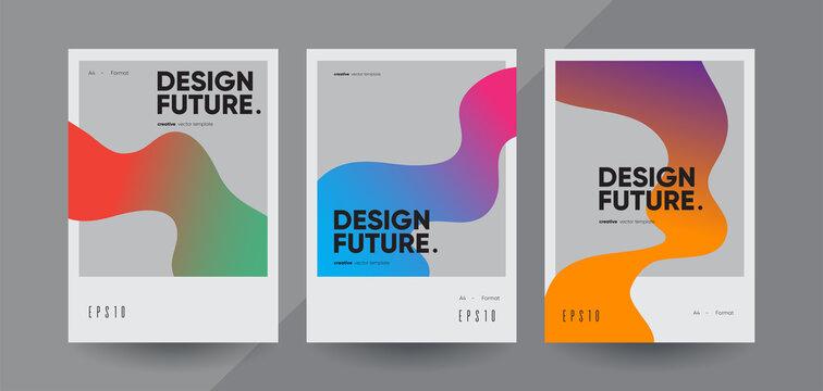 Minimal geometric brochure templates. Vector creative flyers.