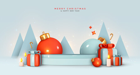 Obraz Christmas and New Year festive blue round podium studio with realistic 3d bauble balls, cone trees, gift box. Creative holiday template. Xmas winter composition. Banner and web poster, cover, brochure - fototapety do salonu