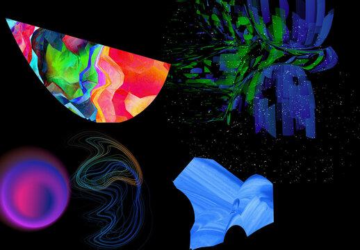 Neo Cyberpunk Design Elements Illustration Set