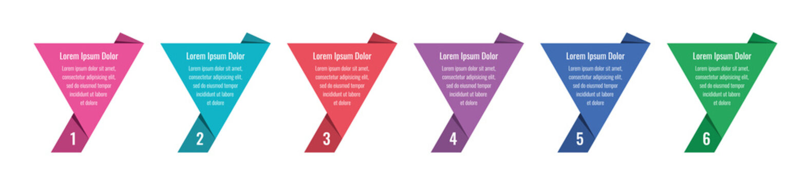 six options infographic template. annual report, internet, magazine information template. triangle paper infographic template