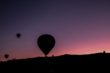 Hot air balloon flying over spectacular Cappadocia. Hot air balloon flying over spectacular Cappadocia