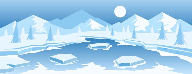 Obraz Frozen lake in mountains - fototapety do salonu